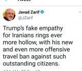 واکنش ظریف به تمدید قانون اعمال محدودیت برای سفر اتباع ایرانی به آمریکا